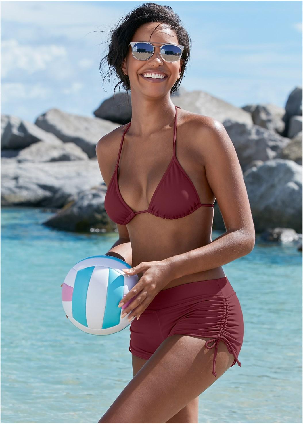 Adjustable Side Swim Short,Triangle String Bikini Top
