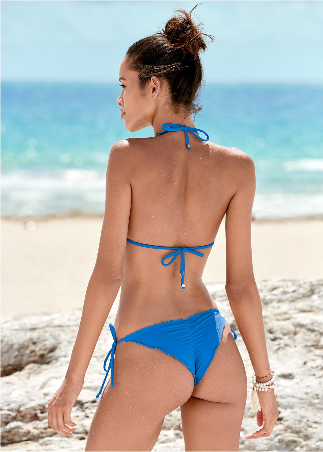 Cheeky Tie Side Bottom,Triangle String Bikini Top,Enhancer Push Up Ring Halter Triangle Top ,Lovely Lift Wrap Bikini Top,Jersey Fishnet Cover-Up Jumpsuit