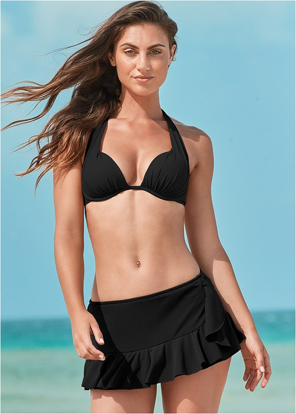 Ruffle Swim Skirt,Marilyn Underwire Push Up Halter Top,Jillian Underwire Top,Goddess Enhancer Push Up Halter Top