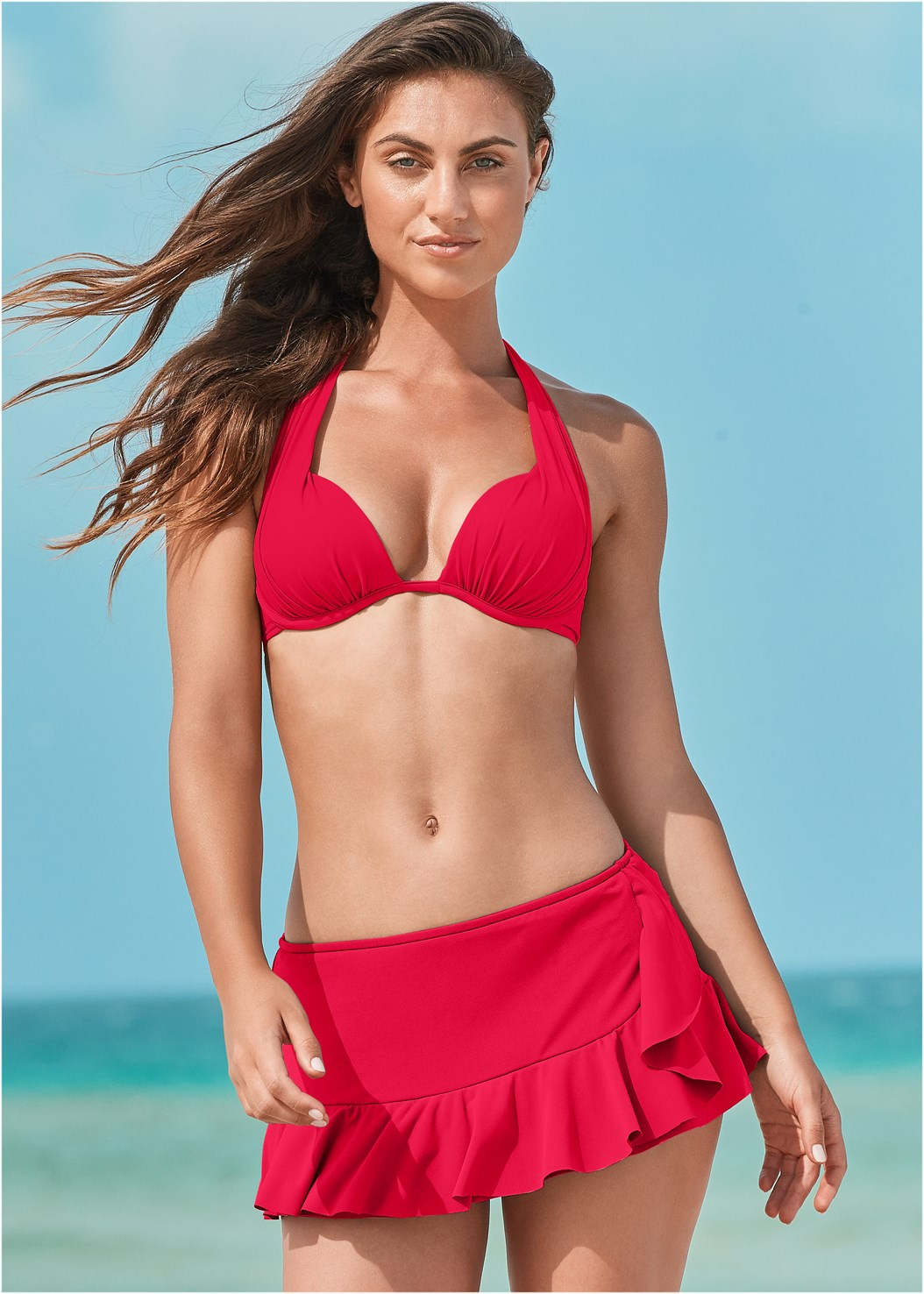 Ruffle Swim Skirt,Marilyn Underwire Push Up Halter Top,Jillian Underwire Top,Triangle String Bikini Top