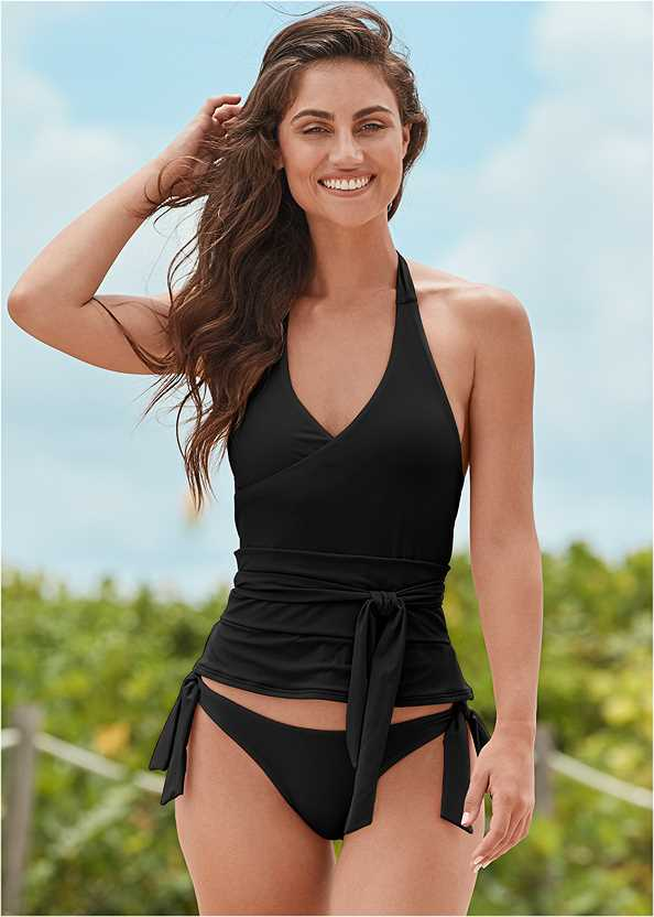 Sustainable Wrap Tankini Top,Mid Rise Hipster Classic Bikini Bottom,Full Coverage Mid Rise Hipster Bikini Bottom,Swim Short,Lattice Side Bikini Bottom,Wrap Romper Cover-Up,Double Strap Printed Sandal,Beaded Statement Earrings,Woven Handbag