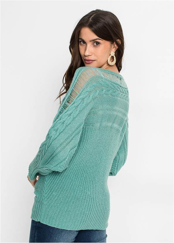 Back View Cable Knit Sweater
