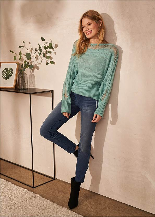 Full Front View Cable Knit Sweater