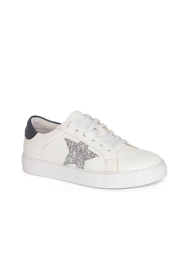 Lace Up Star Sneakers,Rhinestone Trim Zip Hoodie,Basic Cami Two Pack