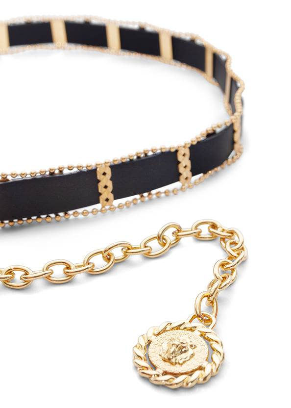 Detail  view Faux Leather Coin Belt