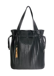 Flatshot front view Pleated Tote Bag