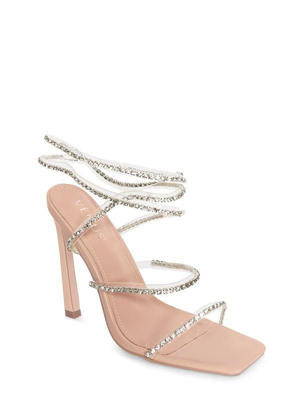 Rhinestone Ankle Wrap Heels