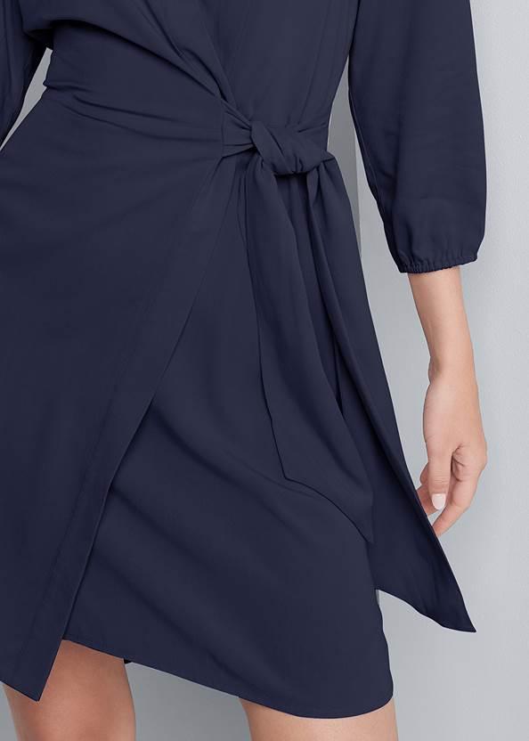 Detail front view Faux Wrap Mini Dress