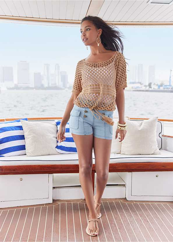 Cargo Sailor Shorts,Open Knit Sweater,Basic Cami Two Pack