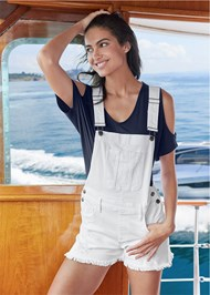 Cropped Front View Denim Overalls