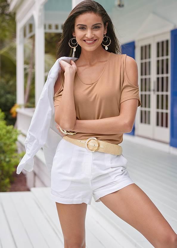 Linen Shorts,Cold Shoulder V-Neck Top,Linen Blazer