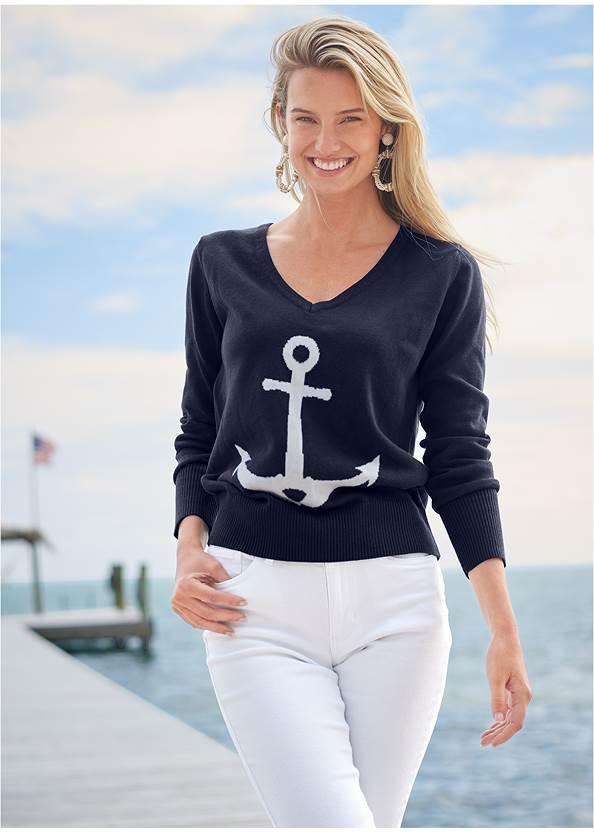 Anchor V-Neck Sweater,Color Capri Jeans,Wrap Around Wedges
