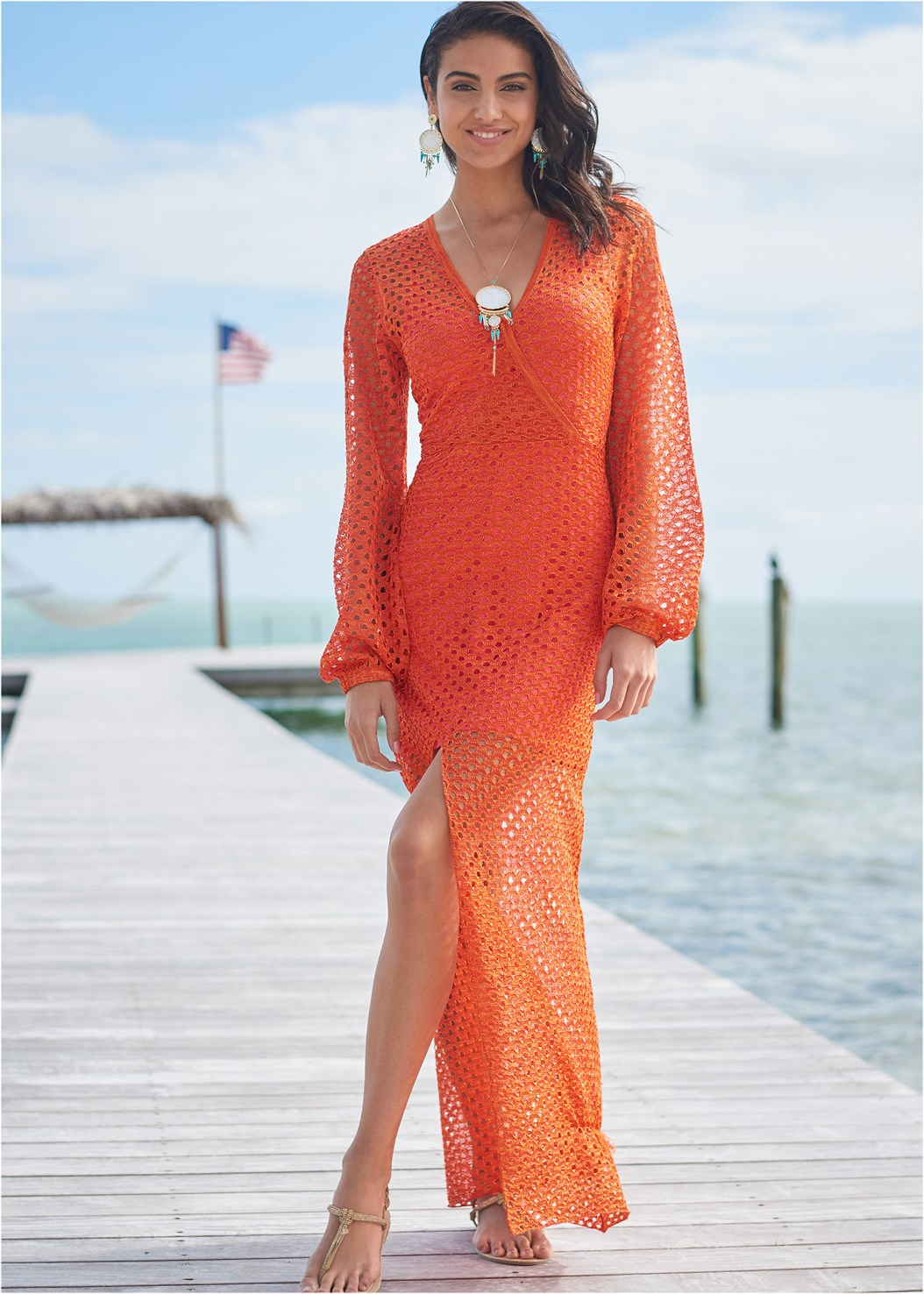 Open Knit Maxi Sweater Dress,Square Toe Thong Heel Sandal,Essential Espadrille Wedges,Shell Fringe Earrings,Shell Pendant Necklace