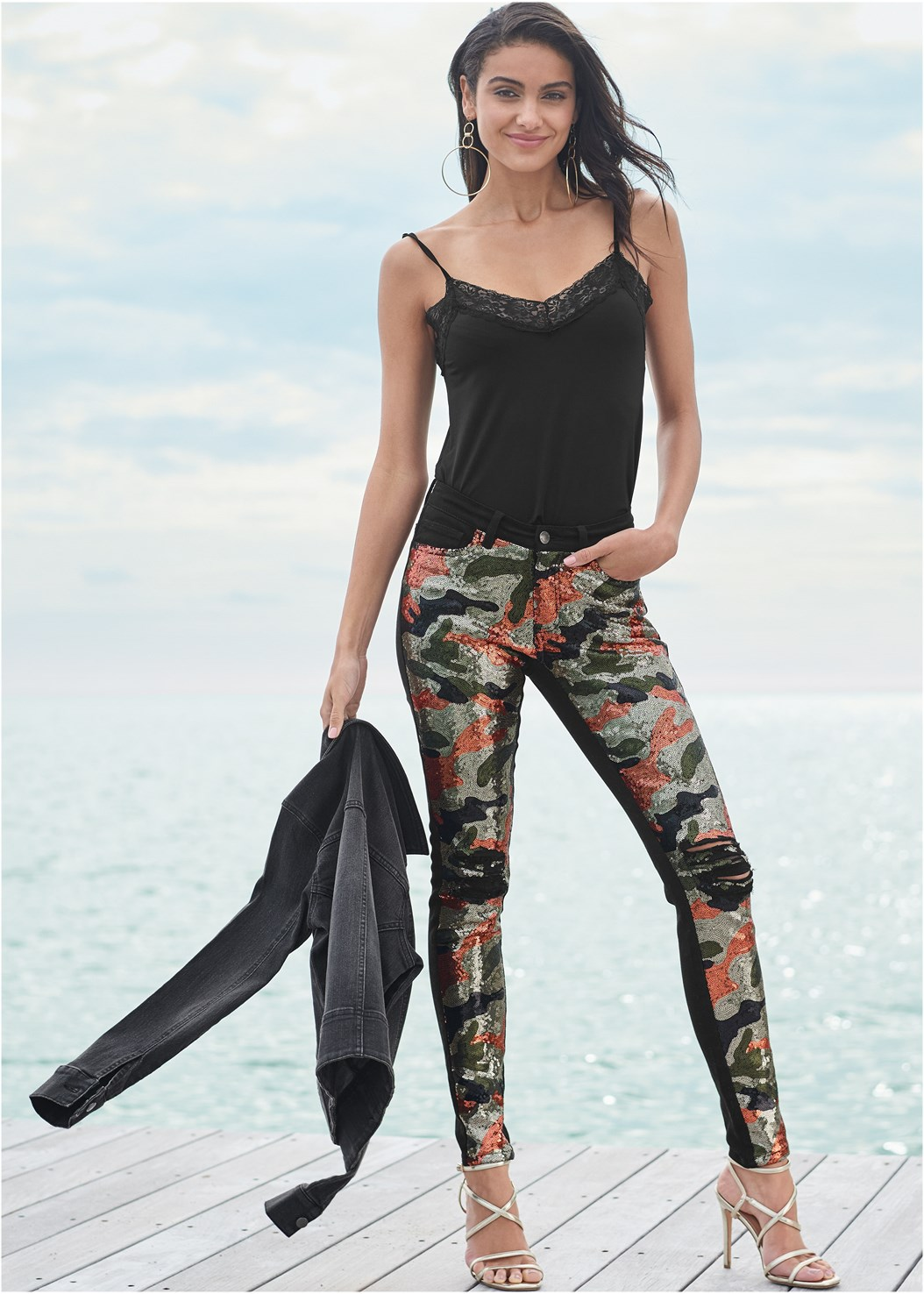 Camo Sequin Jeans,Lace Cami,Jean Jacket,Multi Strap Ankle Wrap Heel,High Heel Strappy Sandals,Hoop Earrings