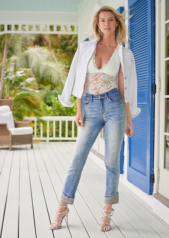 Cropped Pearl Cuff Jeans,Lace Bodysuit,Jean Jacket,Floral Peplum Top,Racerback Basic Top,Off The Shoulder Top,Multi Strap Ankle Wrap Heel,High Heel Strappy Sandals,Tassel Hoop Earring,Hoop Earrings,Lace Up Star Sneakers,Embellished Sandals