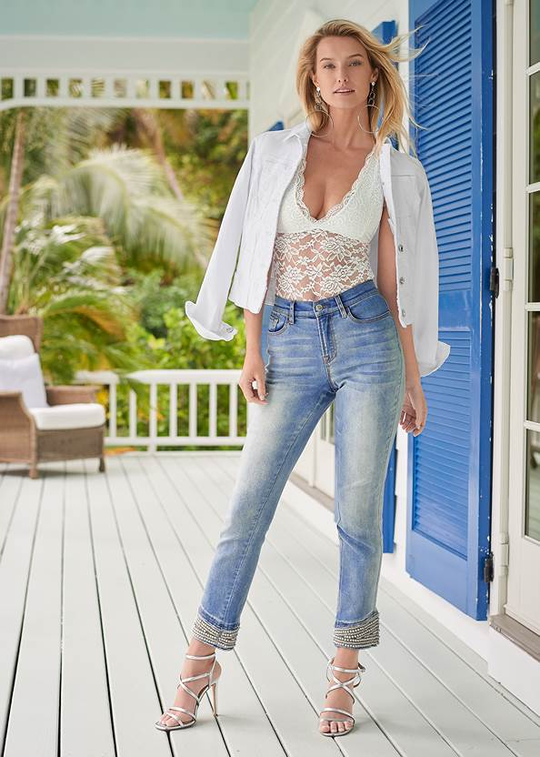 Cropped Pearl Cuff Jeans,Jean Jacket,Floral Peplum Top,Racerback Basic Top,Off-The-Shoulder Top,Multi Strap Ankle Wrap Heels,Tassel Hoop Earrings,Lace Up Star Sneakers,Embellished Sandals