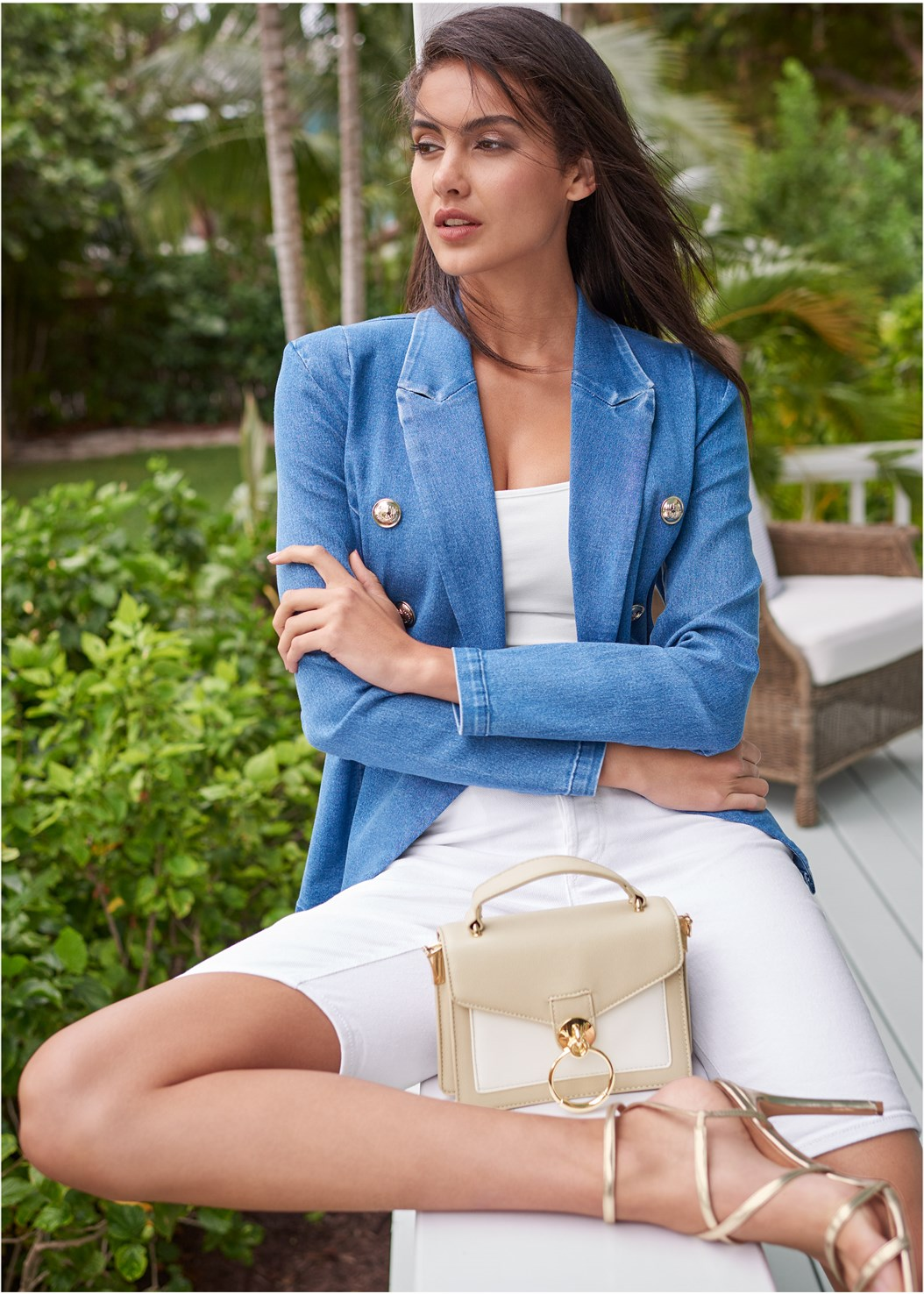 Denim Blazer,Basic Cami Two Pack,Jean Bermuda Short,Bum Lifter Jeans,Multi Strap Ankle Wrap Heel,High Heel Strappy Sandals,Two-Tone Crossbody Bag,Ring Handle Circle Clutch