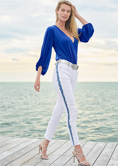 Distressed Striped Jeans