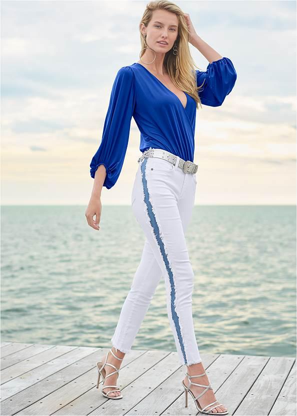 Distressed Striped Jeans,Surplice Bodysuit,Multi Strap Ankle Wrap Heel,Hoop Earrings,Animal Texture Bling Belt,Hoop Detail Earrings,Ring Handle Circle Clutch