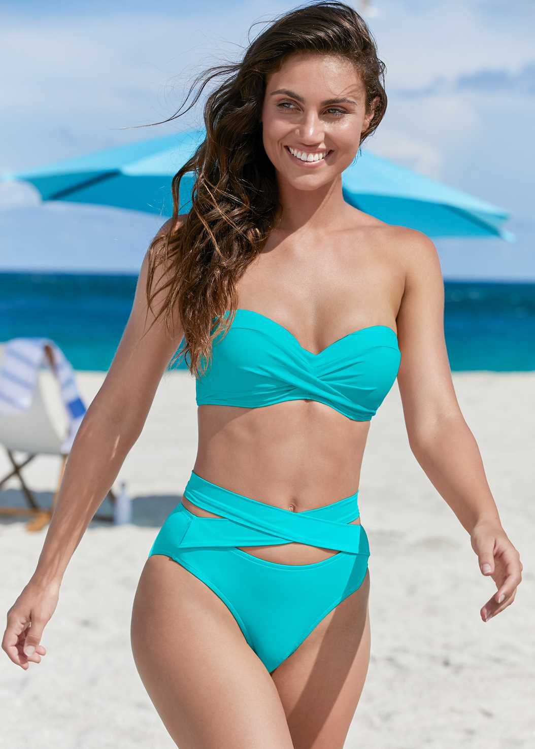 Summer Breeze Bandeau Top,Wrapped Mid Rise Bottom