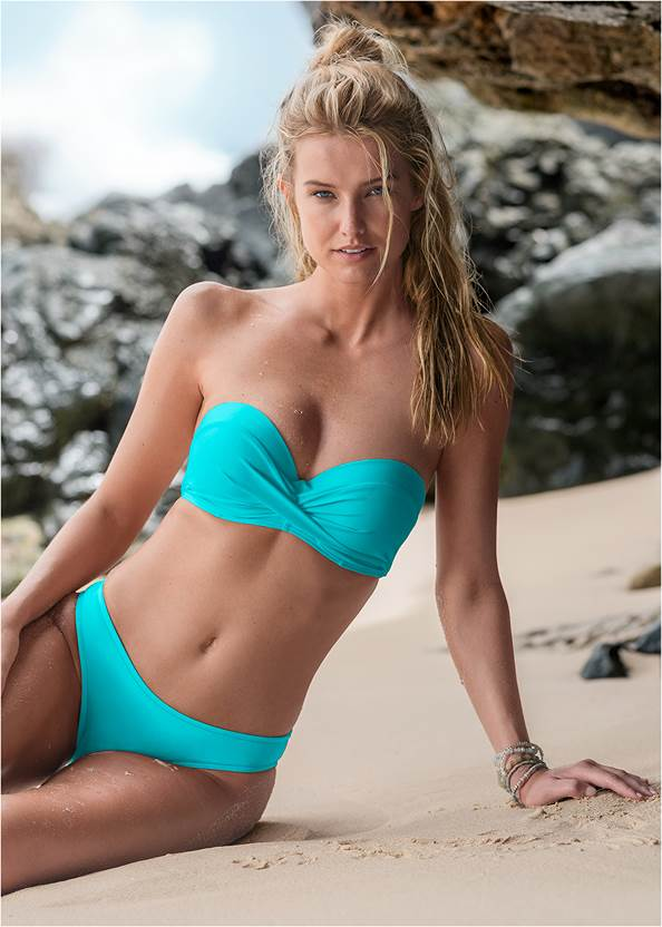 Summer Breeze Bandeau Top,Scoop Front Classic Bikini Bottom ,Wrapped Mid Rise Bottom