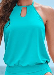 Detail front view High Neck Blouson Tankini Top