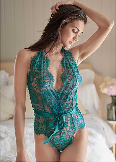 Lace Bodysuit With Bow
