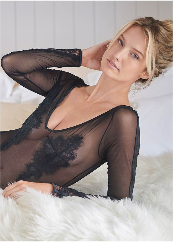 Alternate View Sheer Long Sleeve Bodysuit
