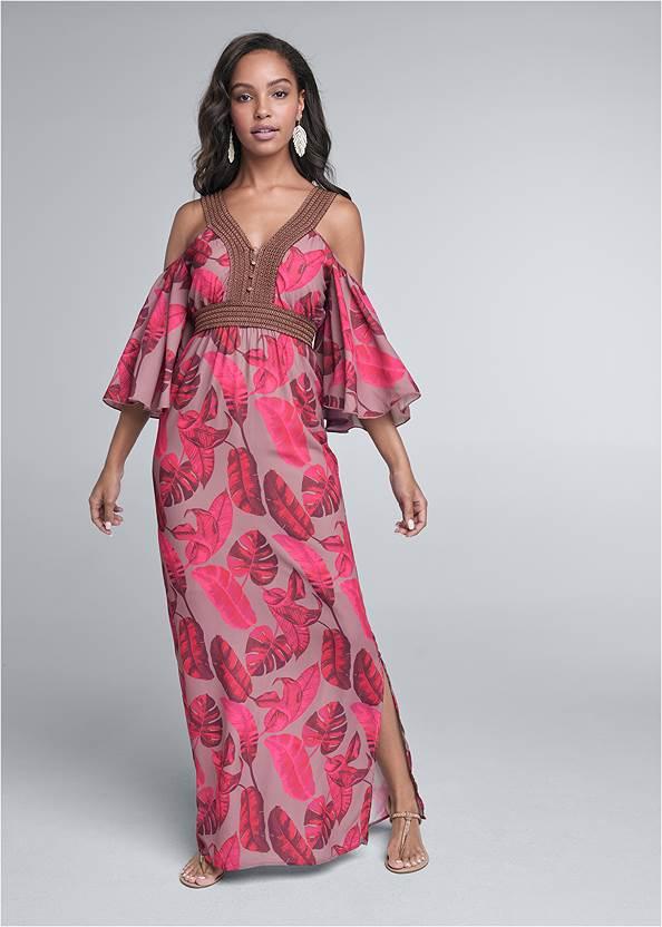 Cold Shoulder Palm Dress,Rhinestone Thong Sandals