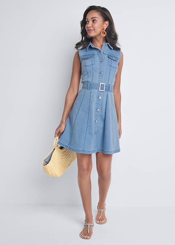 Alternate View Belted A-Line Denim Dress