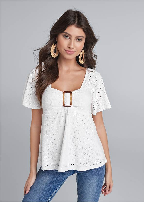 Eyelet Top,Casual Bootcut Jeans,Embellished Jeans,Embellished Wedges,Raffia Wrapped Hoops,Two-Tone Crossbody Bag