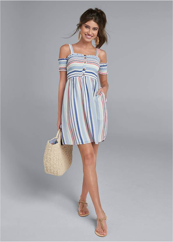 Full front view Smocked A-Line Mini Dress