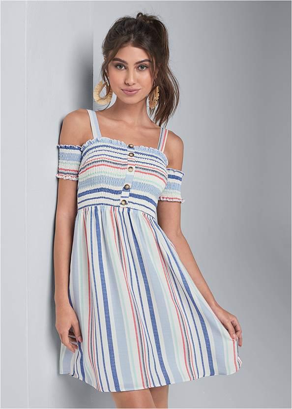 Smocked A-Line Mini Dress,Rhinestone Thong Sandals