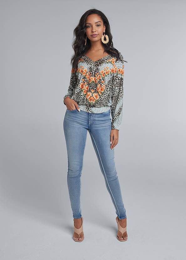 Full front view Mixed Print V-Neck Top
