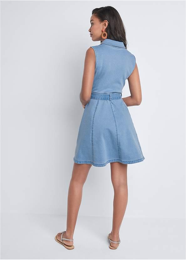 Back View Belted A-Line Denim Dress