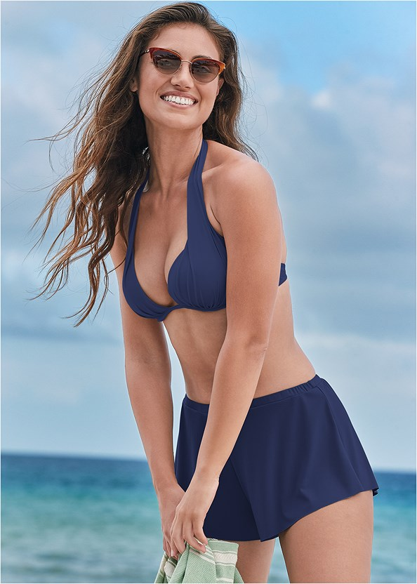 Swim Full Coverage Shorts,Marilyn Underwire Push Up Halter Top,Triangle String Bikini Top,Underwire Ring Top