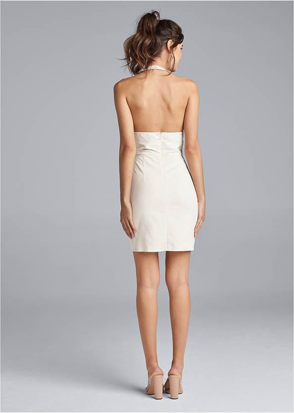 Back View Halter Neck Linen Dress