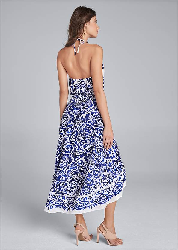 Back View Printed High Low Dress