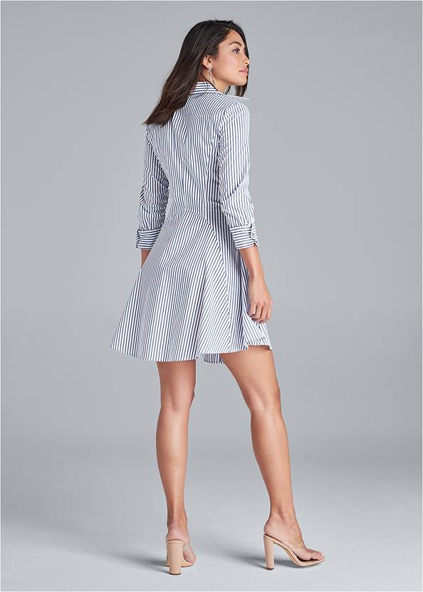 Back View Collared Shirt Dress