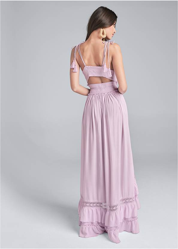 Back View Tiered Lace Trim Maxi Dress