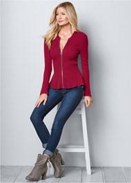 Full Front View Zipper Front Peplum Sweater