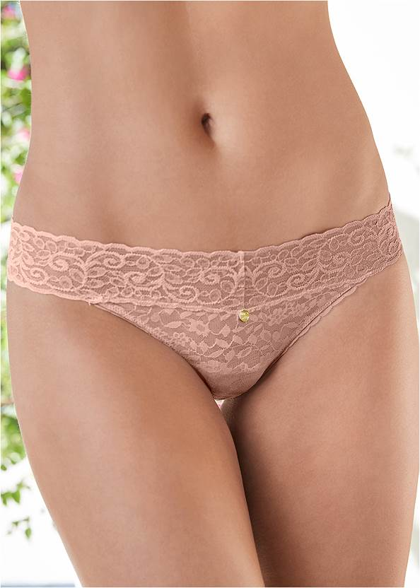 Alternate View Pearl By Venus® Allover Lace Thong 3 Pack