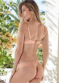 Cropped back view Pearl™ By Venus All Over Lace Thong 3 Pack
