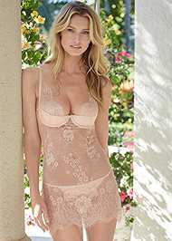 Cropped front view Sheer Lace Chemise