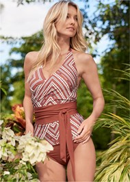 Full front view Sustainable Wrap Tankini Top