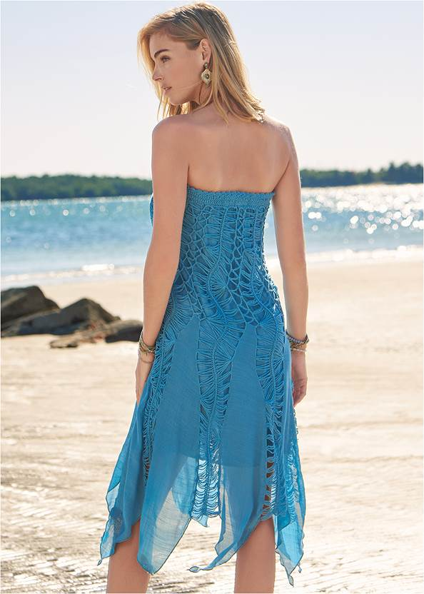 Full back view Convertible Fringe Coverup