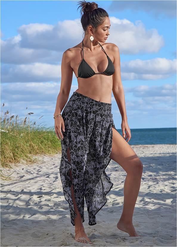 Split Leg Smocked Pants,Tie Front Top,Triangle String Bikini Top,Scoop Front Classic Bikini Bottom ,Low Rise Classic Bikini Bottom
