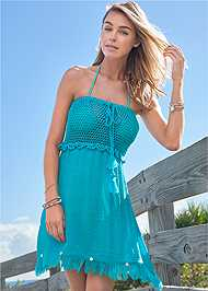 Full front view Crochet Cover-Up Dress