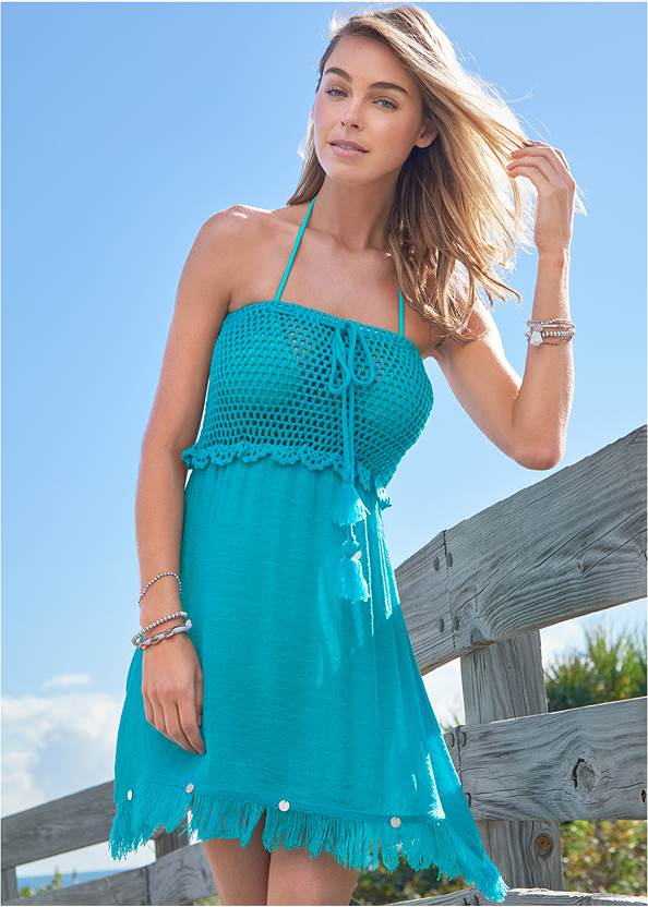 Crochet Cover-Up Dress,Underwire Wrap Top,Adjustable Side Swim Short,Slimming Ruffle One-Piece