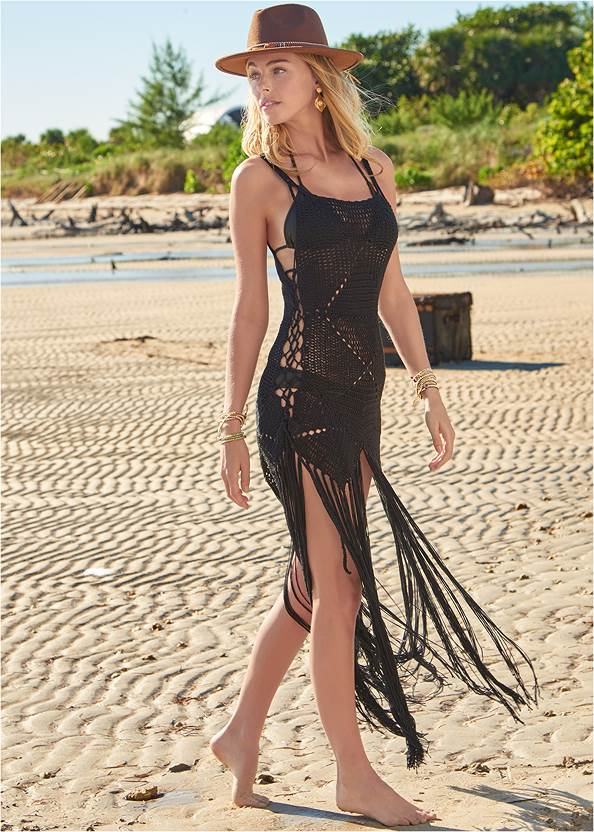 Crochet Cover-Up Dress,Triangle String Bikini Top,Low Rise Classic Bikini Bottom ,Scoop Front Classic Bikini Bottom ,Bling Sexy Monokini,Beaded Fringe Medallion Earrings